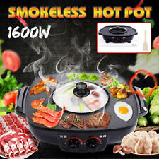 2 In 1 Electric Pan Shabu Hot Pot BBQ Frying Cook Oven Grill Kitchen 1600W 220V
