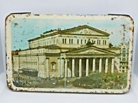 Very Old Soviet Empty Candy Tin Box - Bolshoi Theatre, Moscow USSR Russia, 1960s