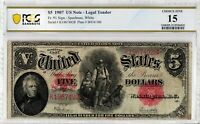 1907 $5 Fr 91 WOODCHOPPER PCGS CF-15 Old Antique Certified US Note Currency 6031