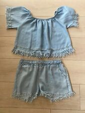 BLUE BARDOT SHORTS & TOP SET M OR 12 FRINGING CELEB/GLAM/PRETTY/TOWIE/FESTIVAL