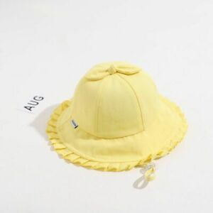 Bows Baby Bucket Cap Spring Summer Kids Girl Sun Hat Soft Cotton Solid Color Hat