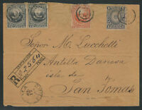 Peru, Scott #104, 106, &  110 pair, on Registered Cover to Danish West Indies
