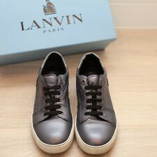 LANVIN / LAMINATED silver lambskin sneakers SIZE 8 -  men's shoes with box