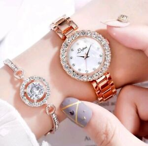 Rose Gold Chronograph Fashion Style Ladies Watches Women Crystals Bling Watch