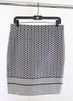 NWT J Crew Factory Womens Black White Geometric Print Pencil Skirt Chevron Sz 8