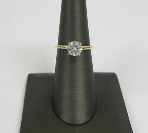 14K Yellow Gold Charles & Colvard Forever One .97CTW Moissanite Solitaire Ring