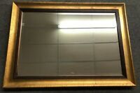 """HEAVY Large Modern 42"""" X 30"""" Rustic Gold Framed Beveled Hanging Wall Mirror"""