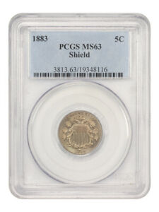 1883 Shield 5c PCGS MS63 - Great Type Coin - Shield Nickel - Great Type Coin