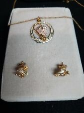 """Estate Black Hills Gold, Leaf and Grapes Necklace With 18"""" Chain and earrings"""
