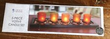 Bnib 5 Piece Votive Candle Set With Pebbles