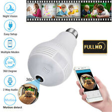 HD 1080P 360° Panoramic Hidden Wifi IP Camera Light Bulb Home Security Lamp Cam