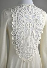 KNITTED AND KNOTTED $118 Thin Crochet Lace Open Front Sweater Top Size Small