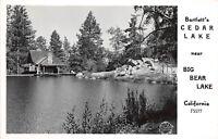 D98/ Big Bear Lake California Ca Postcard Real Photo RPPC Bartlett's Cedar Lake