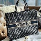 CHRISTIAN DIOR Bag Canvas Navy Oblique Tote Black Color