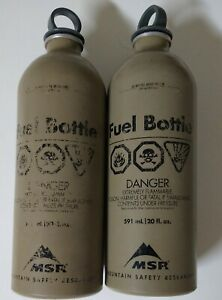Mountain Safety Research MSR Military Fuel Bottle Tan ( Lot of 2)