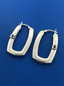 Designer ELLE 925 Sterling Silver Ruby Oblong Puffy Statement Hoop Earrings
