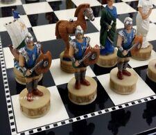Greek Mythology TROJAN WAR Troy vs Spartan CHESS SET W BLACK & WHITE GLOSS BOARD