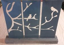 Birds on a limb 3 Metal Panels set in a wood base - Home Decor