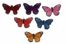 24 Artificial Feather Butterflies Decorative Fake Butterfly BF784X24 *
