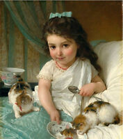Dream-art Oil painting Emile Munier Pretty girl feeding her pets the Kitten cats