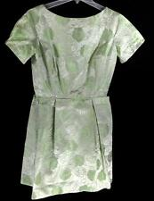 Lime Green Satin Flowered Brocade Fitted Mini Dress with Pleated Waist Sz S