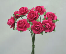 # 10 Small Hot Pink Mulberry paper Roses on stems by Green Tara