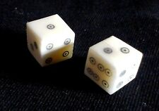Two historic reproduction ring and dot bone dice; c. 1cm
