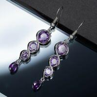 Unique Oval Drop Purple Amethyst Zirconia Silver Hook Dangle Earrings for Women