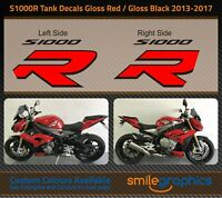 BMW S1000R Tank Decals. 2013-17 - Gloss Black & Gloss Red Stickers