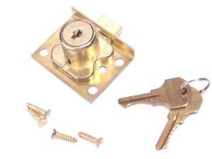 """NEW! CCL DESK DRAWER LOCK SPRING BOLT, KD, 7/8"""" CYLINDER LENGTH, BRASS, 02065"""