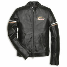 Ducati Retro Black Leather Motorcycle Jacket