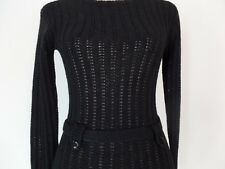 Victoria's Secret Moda Int'l Black Open Knit Attached Lower Belt Sweater   XS