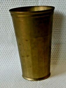 Antique Brass Drinking Glass Cup Original Old Hand Crafted Heavy