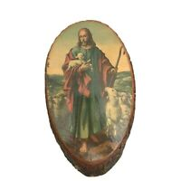 Good Shepherd C55 Picture on Wood Bark Plaque Made in USA Blue Robe Vintage