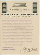 1908 J. A. Coates Letterhead New York NY Long Eyed Neddles Sewing + Envelope