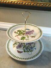 Portmeirion Botanic Garden 2 Tier Cake Tea Pastry Serving Plates England