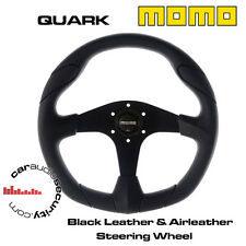 MOMO QUARK 350MM BLACK LEATHER & AIRLEATHER, SCULPTED GRIP STEERING WHEEL