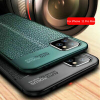 For iPhone 11 Pro Max Shockproof Rubber Slim TPU Leather Texture Back Case Cover