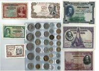 Lote 33 monedas diferentes y 6 billetes de España Juan Carlos Franco varios años