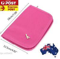 Pink TRAVEL WALLET PASSPORT HOLDER Document Credit Card ORGANIZER Bag ID Purse