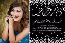 Graduation Confetti Photo Invitation Announcement 10 Invitations Any Color