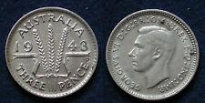 MONETA COIN AUSTRALIA KING GEORGE VI° THREE PENCE 1943 - ARGENTO SILBER SILVER