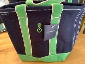 NWT Lands' End small canvas tote bag open top navy & vivid green monogrammed S