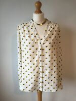 Gorgeous Boden Cream Yellow Spotted Blouse  Top Slightly Sheer Size 14 Autumn