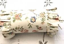 Floral Decorative Pillow Ruffled Bolster Ivory Floral