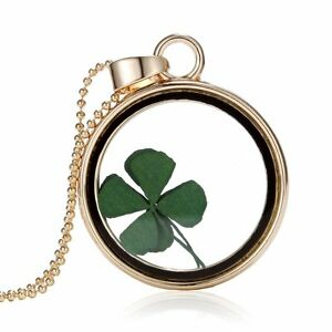 Natural Real Dried Clover Flower Clear Resin Locket Pendant Necklace Lucky-Leaf