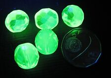 URANIUM Czech Vaseline glass/AB fire polished faceted round beads 12mm 10 pcs.