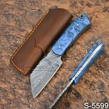 5599 | Wazirabad's Handmade Damascus Steel Skinner/Hunter/Seax W/Sheath