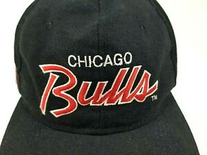 Vintage 90's Chicago Bulls Sports Specialties Script SnapBack Hat Cap Black EUC