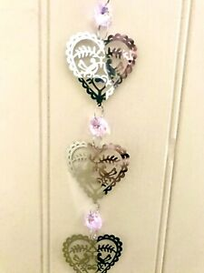 Crystal Glass & Stainless Steel Hanging Suncatcher Mobile for Home 50cm Long